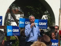 Jim Gray speaks at a rally in 2012